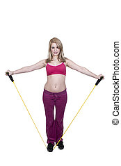 Woman Working Out - Beautiful young woman working out with...