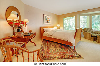 Large elegant bedroom with natural tones - Beautiful bedroom...