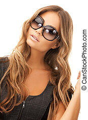 lovely woman in shades - bright picture of lovely woman in...