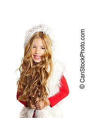 Kid little girl with Christmas winter white fur