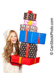 kid little girl with Christmas present gifts stacked - girl...