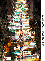 Temple Street in Hong Kong at night - HONG KONG - 9 FEB, The...