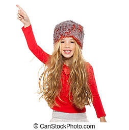 kid girl winter dancing with red shirt and fur hat on white...
