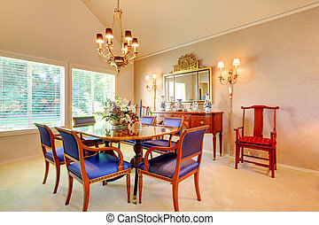 Elegant Dining room with luxury blue chairs
