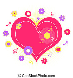 Heart with music notes - Pink heart with music notes