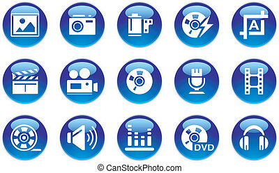 AudioVideoPhoto Icons Set on white background