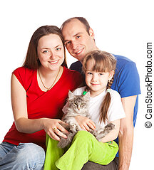 family with a cat - happy young family; mother, father,...