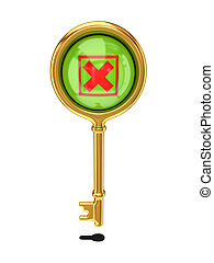 Vintage golden key with a cross mark.