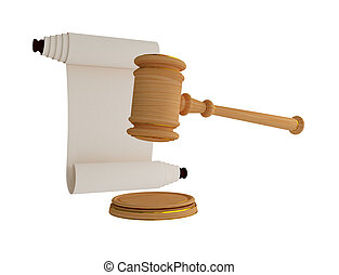 Lawyer's hammer and antique scroll. 3d rendered. Isolated on...