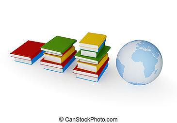 Three stacks of books and  globe.