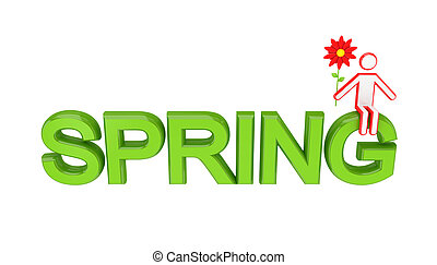 Big word SPRING and 3D small person sitting on it Isolated...