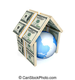 Earth under the roof made of money. 3d rendered. Isolated on...