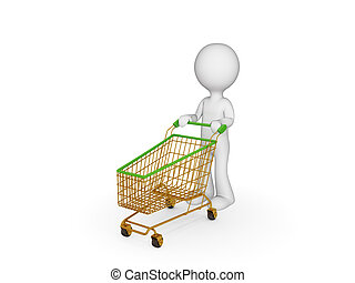 3d small person with shopping trolley. Isolated on white.
