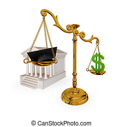 Corruption concept. - Court, vintage scales, dollar sign and...