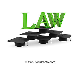 Lawyer's hats and green word LAW. 3d rendered. Isolated on...