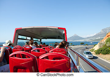 Tour double decker bus Cape Town - Red tour bus in Cape...