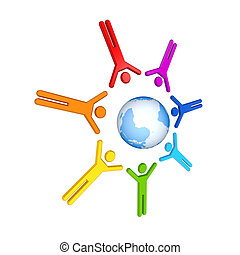 Round dance of 3D small people around the globe Isolated on...