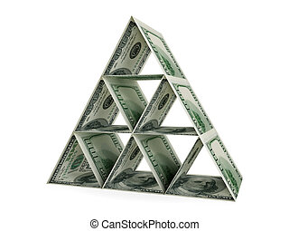 Pyramid made of dollars.