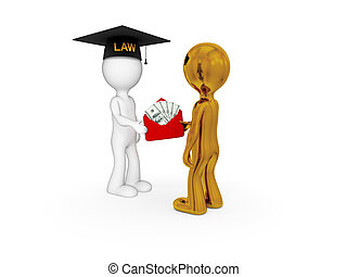 Lawyer, client and money pack - 3d small people. Lawyer,...