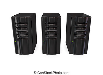 Three black server PC's. Isolated on white. 3D rendered.