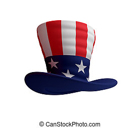 Uncle's Sam hat. 3d rendered. Isolated on white background.
