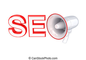 Word SEO and megaphone 3d rendered Isolated on white...