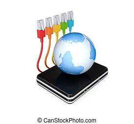 Router, patchcords and earth 3D rendered Isolated on white...