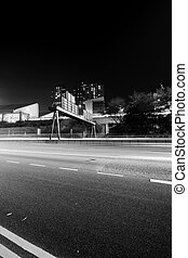 Traffic in Hong Kong in black and white tone