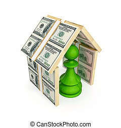 Green pawn under the roof made of money 3d rendered Isolated...