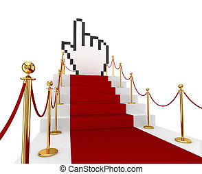 Red carpet on a stairs and large cursor 3d rendered Isolated...