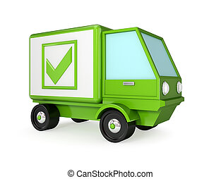 Green truck with a green tick mark.