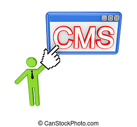 3d small person pointing on a PC window with a word CMS...