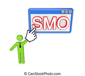 3d small person pointing on a PC window with a word SMO...