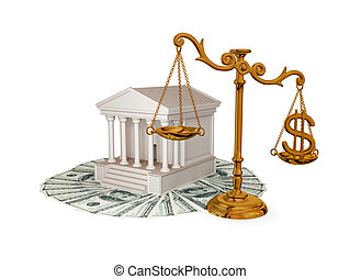 Court, money, golden scales with dollar sign. 3d rendered....