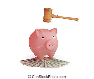 Lawyer's hammer, dollars and pink piggy bank. 3d rendered....