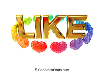 Golden word LIKE and colorful hearts around it. - Golden...