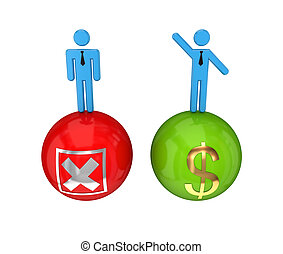 Choice concept - 3d small people on a glossy bolls with a...