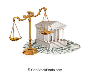 Court, dollars and vintage golden scales. 3d rendered....