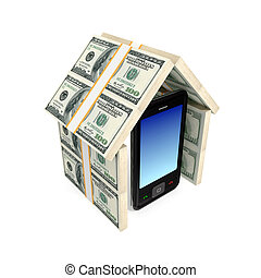 Modern mobile phone under the roof made of money 3d rendered...