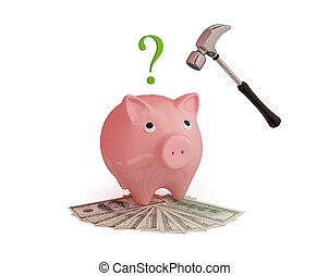 Pink piggy bank, hammer,money and question sign 3d rendered...