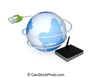 Router, Earth and patchcord 3d rendered Isolated on white...