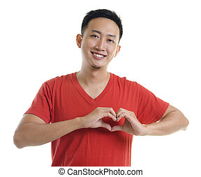 Man health care - Asian young forming a heart shape on white...
