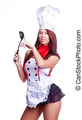 sexy cook - sexy brunette cook wearing unform and holding a...