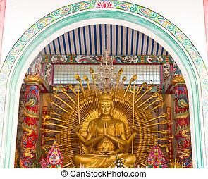 """Bodhisattva """"Guan Yin"""" or """"Kuan Yin"""" statue - Golden..."""