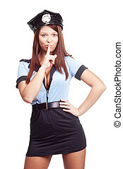 sexy policewoman - young sexy policewoman, telling us to be...