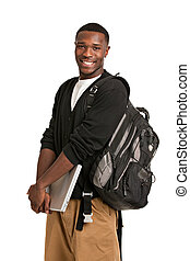 Happy African American College Student Holding Laptop on...