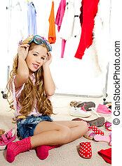 時裝, 衣櫃, 后台, 受害者, 雜亂, 女孩, 孩子