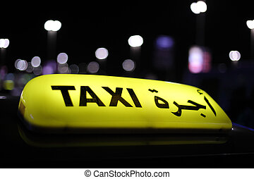 Taxi in Abu Dhabi at night, United Arab Emirates