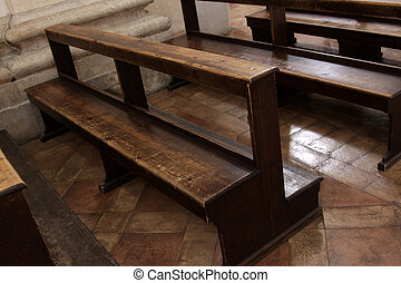 Well Used Church Pews - Worn Church pews in a basilica in...