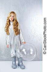 Astronaut girl with silver uniform and glass helmet -...